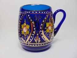 Dúsan aranyozott, kék , szakított  üveg korsó