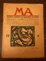 MA avantgarde folyóirat IV. évf. 8. (teljes) száma Mattis Teutsch János linóleummetszettel, 1919 k.