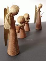 Skandináv dizájn fa réz angyalok gyertyatartó