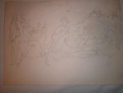 Vogel Eric: Mulató társaság I. ceruzarajz 43x30 cm