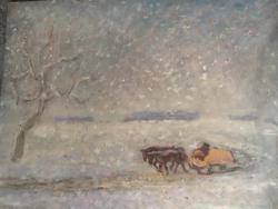 Baranyó Sándor téli táj  szánnal