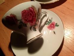Bareuther Waldsassing Bavaria rózsás kávés csésze és alj, aranyozott, Birkenstein képpel