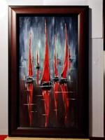 Czinóber - Vörös vitorlák ( 22 x 40 + mesés keret, olaj )