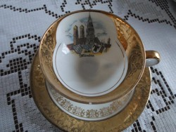 Bavaria  München kávés csésze és alj, dúsan aranyozott, az alj ragasztott