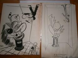 Toncz Tibor eredeti karikatúrája és ennek ceruzaterve 29X23 cm