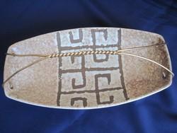 Retro art deco jellegű kerámia asztalközép kínáló 28,5*14,5 cm