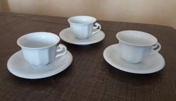 Hollóházi porcelán 3db. kávés csésze + alj.