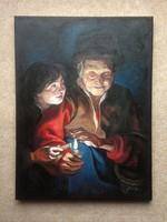 Éjjeli jelenet - Rubens után - olajfestmény 40 x 30 cm - keret nélkül