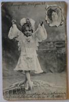 Fotómontázs-üdvözlőlap, 1905 előtt (pb: 1905): Kis táncosnő (táncoló kislány)