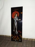 Gyönyörű intarziás és kagylóhéj berakásos Japán falikép!