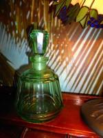 Antik zöld lapra csiszolt hutaüveg palack dugóval
