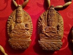 Buddha és Krisna fa nyaklánc, kézzel faragott