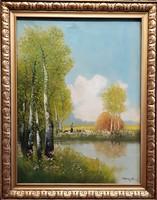 Náray Aurél 1915 / Tájkép vízparttal