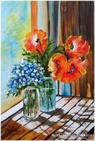 Sztopka Anna: Olaj festmény, virág csokor,  csendélet. Pipacs verőfényben