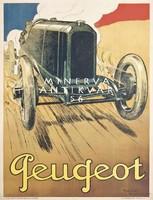 Régi Peugeot automobil hirdetés. Vintage/antik reklám plakát reprint