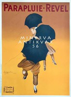 Férfi úri divat hirdetés, esernyő, Leonetto Cappiello. Vintage/antik plakát reprint
