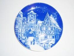 Kék fehér porcelán fali falra akasztható dísz tányér - Royal Bavaria 1977 Rothenburg o. d. Tauber