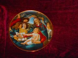 Hollóházi  porcelán falitányér 25 cm Botticelli festménye utáni előlappal
