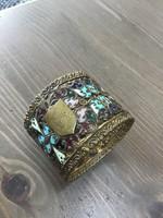 Antik Velencei tűzzománccal díszített réz szalvétagyűrű