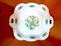 ALT TIRSCHENREUTH zöld virágos aranyszélű nagy porcelán  tál