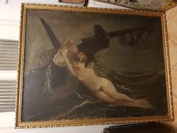 """90x120+szép keret, """"Utolsó csók a sellőtől"""", antik festmény"""