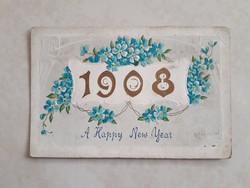 Régi újévi képeslap 1908 nefelejcses dombornyomott üdvözlőlap