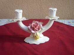 Ens -Volkstedt  kétágú rózsás gyertyatartó.