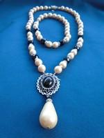Csodálatos női szett gyöngyből cirkóniummal és fazettált onix kövekkel
