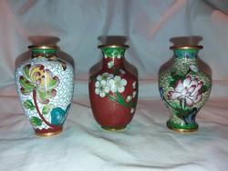 3 db rekeszzománcos keleti kis váza