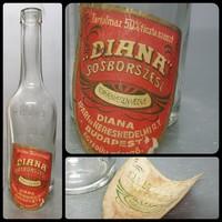 """""""Erényi diana sósborszesz franzbranntwein"""" színtelen, címkés közepes sósborszeszes üveg 21 cm (962)"""
