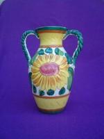 Amfora formájú két fülű kerámia váza