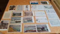 0T154 Régi 20 darabos, postatiszta képeslap mappa eladó. Festmény