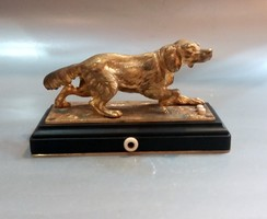 Antik Bécsi Bronz Cselédhívó kutya ábrázolással
