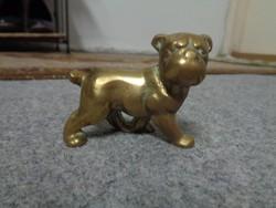 Pompás zömök réz bulldog szobrocska
