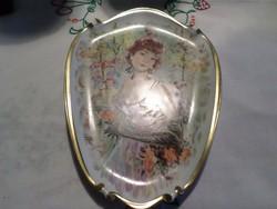 Szecessziós kézzel festett porcelán fali kép