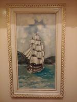 Vitorlás olajfestmény  modern keretben 29 x 49 cm