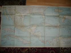 Antik nagy méretű Közép-Amerika  térkép 1939 - NG Washington  Mérete: 105*60 cm