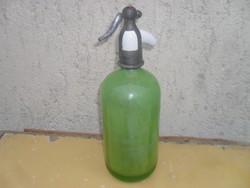 Zöld színű, Porcelán betétes, Szódásüveg