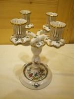 Herendi színes Indiai kosármintás porcelán 4 ágú gyertyatartó