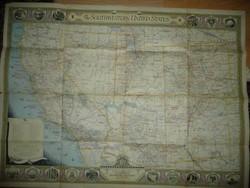 Antik nagy méretű Dél-Nyugat USA  térkép 1940 - NG Washington  Mérete: 89*66 cm