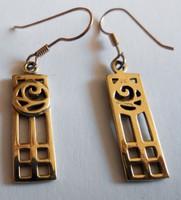 Szecessziós arany fülbevaló Mackintosh design