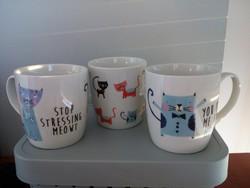 Porcelain cup, mug kitten / cat 3 pcs