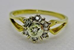 Szépséges antik 0.18ct  gyémántköves arany  margaréta gyűrű