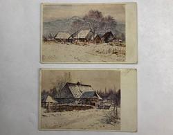 Antik 1917-es Tanyavilág 2db posta tiszta képeslap egyben, G. Brauner Kárpáti térkép /KL006/
