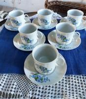 Arpo márkájú nefelejcs virágos porcelán kávés készlet 6 személyes!