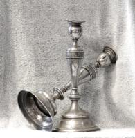 Extra kedvezmény, utolsó ár! Ezüst gyertyatartó pár, 19. század utolsó harmada