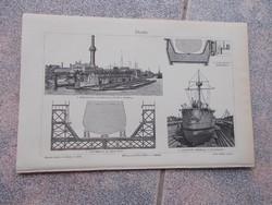 Litografie Meyers,1904, Docks