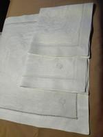 3 db antik, koronás, monogramos damaszt szalvéta, 40 x 40 cm