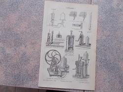 Litografie Meyers,1904, Gepek,Luftpumpe