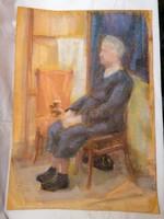 Ülő alak pasztell-karton festmény 61x43 cm